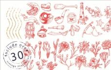 素描手绘出海航行与花草