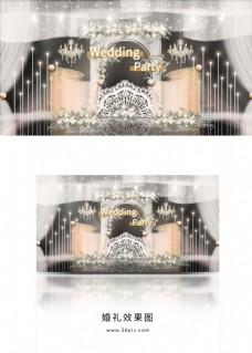 轻奢浪漫水晶宫廷拱门弧形帷幕婚礼效果图