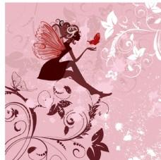 花卉翅膀女孩