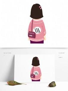 卡通可爱背着紫色包包的女人背影插画