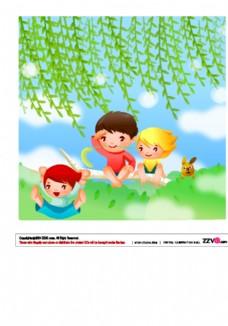 卡通创意简约小清新儿童插画
