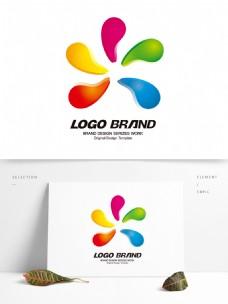 简约现代红黄绿人形公司标志LOGO设计
