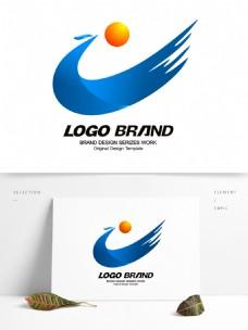 矢量创意蓝色飘带公司标志LOGO设计