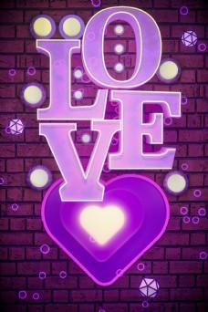 C4D立体LOVE霓虹灯电商情人节背景
