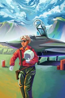 一个飞行员背景图