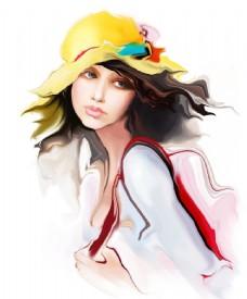 手绘戴帽子的美女