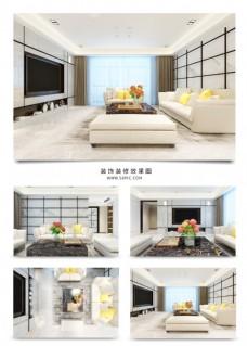 现代客厅方格电视背景墙室内装修效果图