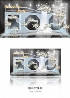 三层折叠舞台镂空纱幔放射灯管婚礼效果图