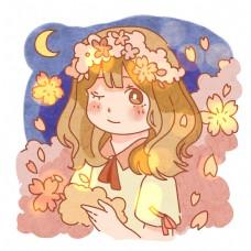 唯美绚烂花丛少女png