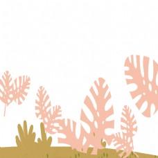 文艺清新植物叶子卡通png素材