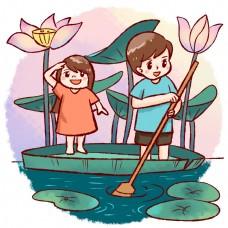 情侣荷叶荷花湖中泛舟