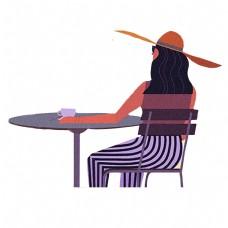 紫色坐着的女生元素
