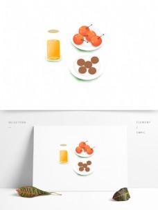手绘饼干饮料的水果美食设计