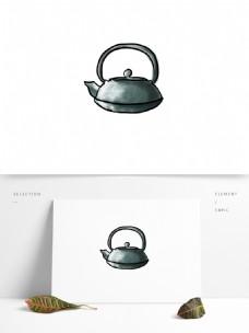 水墨中国风一个茶壶设计