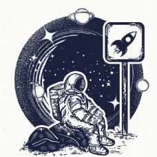 宇宙元素 黑白风插画