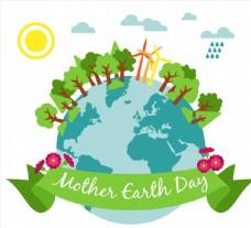 创意世界地球日树木地球