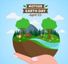 创意世界地球日单手捧起的地球