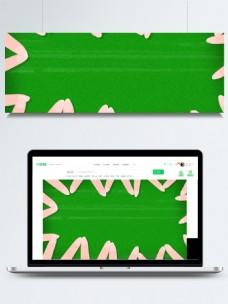 清新风绿色美甲手绘插画背景