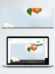 柿树下熟睡的白猫背景