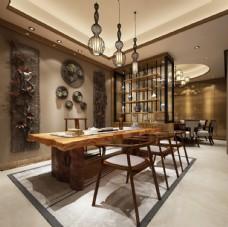 中式餐厅茶室效果图3D模型