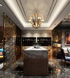 现代轻奢餐厅吧台效果图3D模型