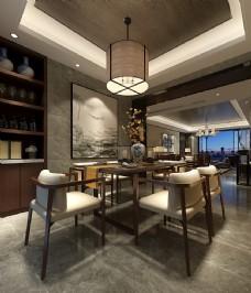 中式餐厅餐桌效果图3D模型