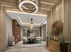 欧式简约餐厅效果图3D模型