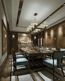 现代中式餐厅效果图3D模型