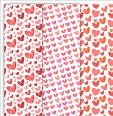 3款红色水彩绘爱心无缝背景