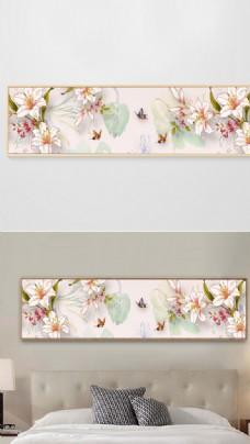 现代简约手绘花卉花朵床头装饰画