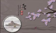 中式山水玉兰花鸟背景墙
