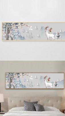北欧简约树林山水床头装饰画