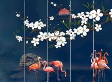 新中式山水花鸟背景墙