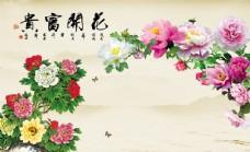 花开富贵牡丹花电视背景墙