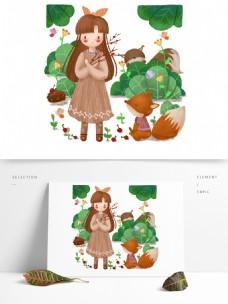 手绘卡通可爱女孩和森林动物狐狸
