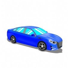 免扣卡通蓝色小汽车