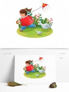 手绘春分放风筝的女孩