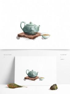 中国风水墨一壶茶元素设计