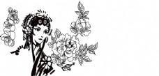 古代戏子 玫瑰花牡丹花朵 艺术