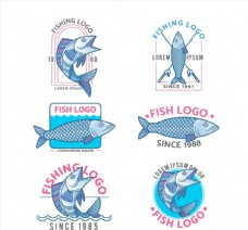 6款手绘鱼类标志