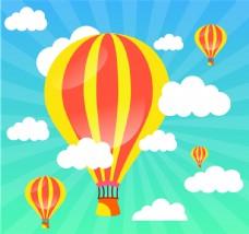 热气球 云朵 分层 CDR