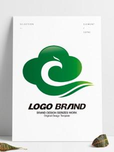 矢量简约绿色云朵LOGO公司标志设计
