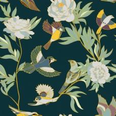小鸟花卉平铺图