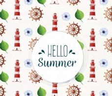 彩绘夏季灯塔和船锚无缝背景