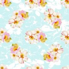 蓝底油画风花卉