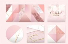少女粉色徽章