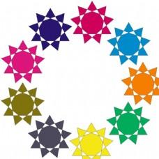 太阳 螺旋 圆圈 七彩 旋转