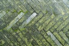 青苔石地砖墙砖摄影