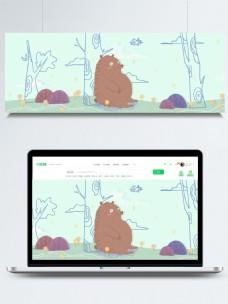 手绘虚实相生森林熊banner背景psd