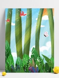 春季清新树林草丛背景设计